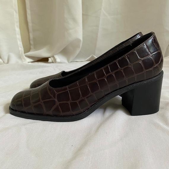 Vintage Brown MEDICUS Crocodile Pattern Leather Shoes UK 7