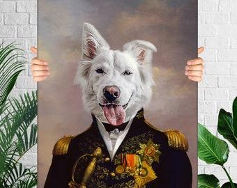 Custom Dog Portrait, Pet Portrait Royal, Renaissance Animal Painting, Funny Pet Lover Gift
