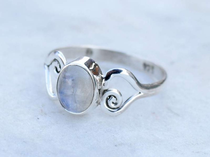 Birthstone Ring-Gift Idea All Size Gemstone Ring Rainbow Moonstone Sterling Silver Ring For Women Girls