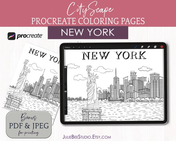 Procreate Coloring: Cityscape Digital Coloring Pages / New Etsy