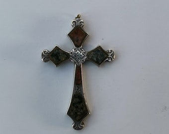 Vintage Polished Scottish Glasgow Granite  Agate Cross with Silver Chain /& Dangle Drop Earrings