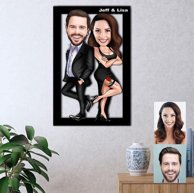 Your partner has a good sense of humour? If so, a quirky anniversary gift like the personalized caricature couple wooden wall art can have your partner laughing tears and indulge in the happiness.