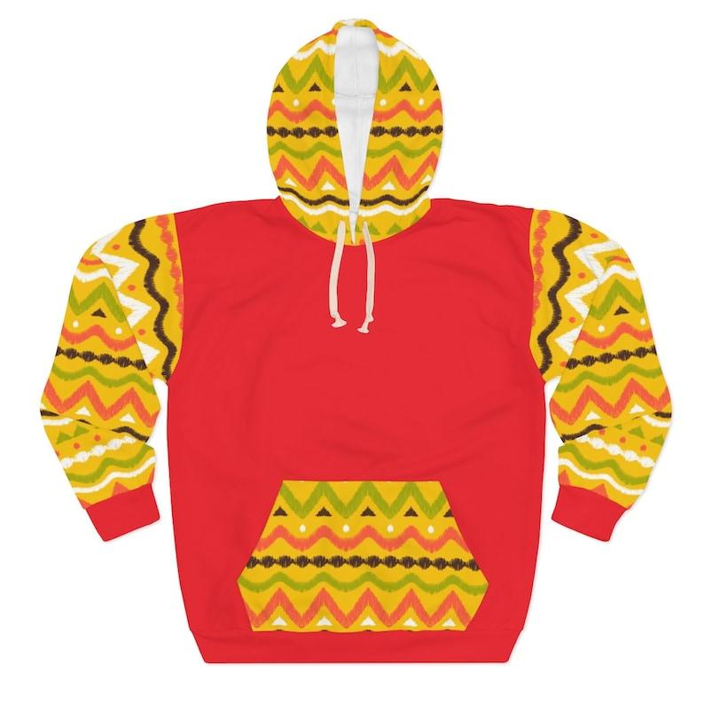 BAE Women/'s Red Kente Look Pullover Hoodie