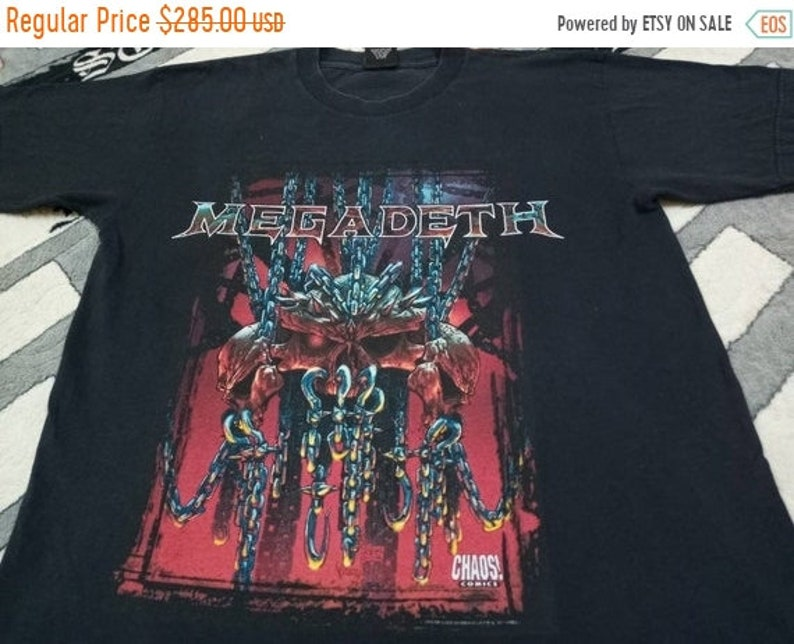 Vintage Megadeth metal band 90s t shirt image 1