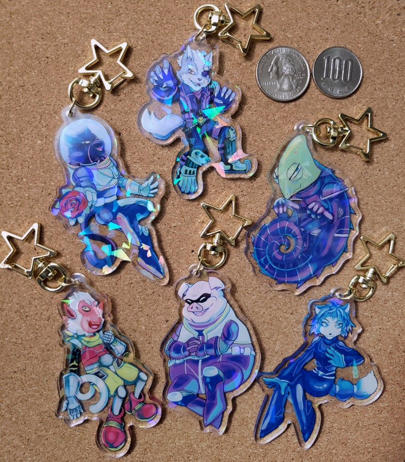 Star Wolf holo acrylic charms