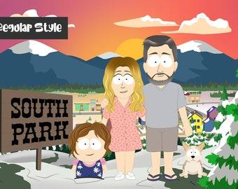 South Park Portrait , Custom Cartoon TV show , Couple Portrait , Family Portrait Illustration, Funny Cartoon , Halloween Gift