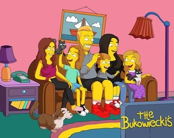 SALE!! Simpsons Portrait , Custom Family Portrait , Custom Couple Portrait , Anniversary Gift , Custom Portrait , Christmas Gift , Xmas Gift