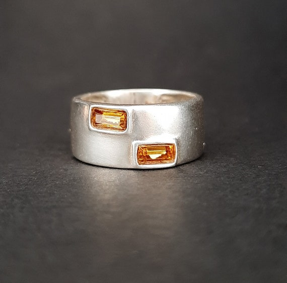 Citrine Ring Silver 925 / Citrine Yellow Ring / Si