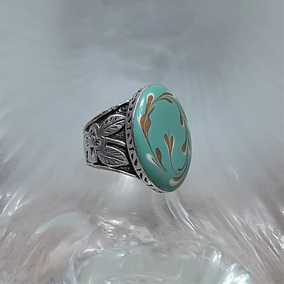 Porcelain Victorian Ring / Silver Ring 925 Victori