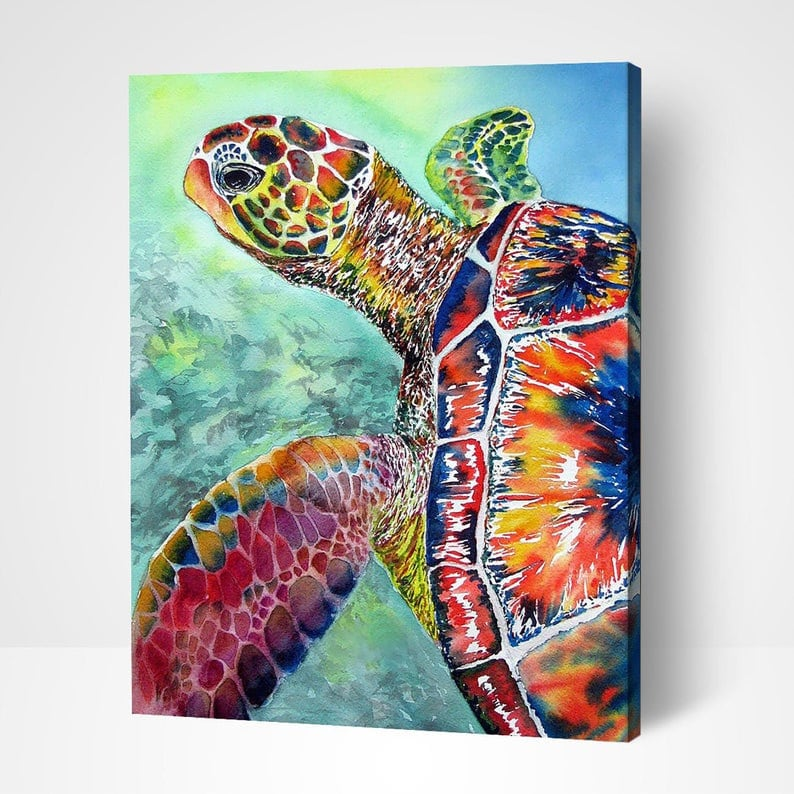 Gift For Kids With /& Without Frame Animal Paint By Number DIY kit Sea Turtle Adult Arts And Crafts Christmas Gift for Him