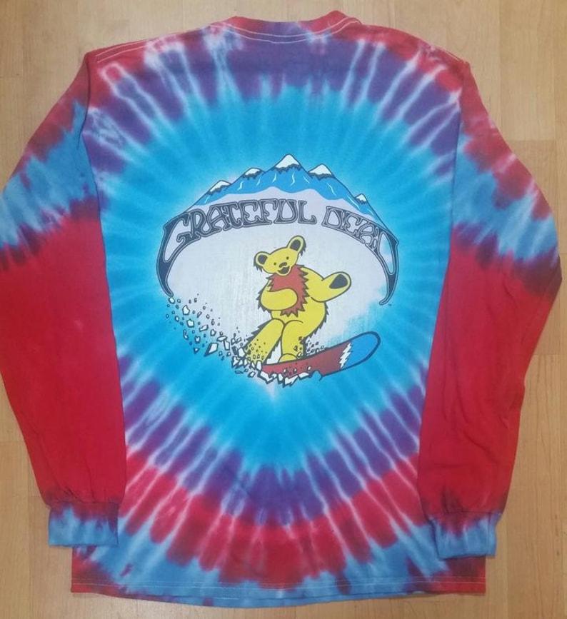 Dancing Bears Long Sleeve Tie Dye shirt Grateful Dead Long Sleeve Snow Boarding shirt sizes medium. large, XL and 2XL Hey Now!!