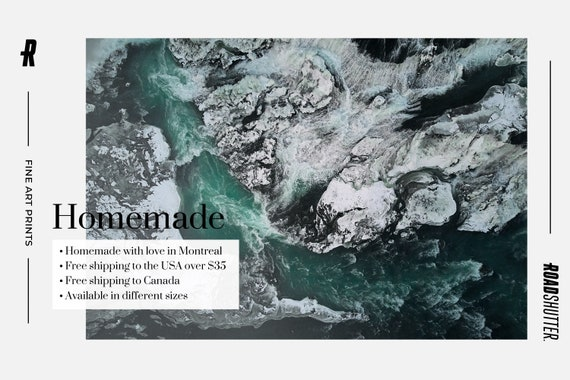 2 Scandinavian Waterfall Horizontal Wall Art Nordic Landscape Nature Home Decor Set of Aerial Iceland Turquoise River Photography Prints