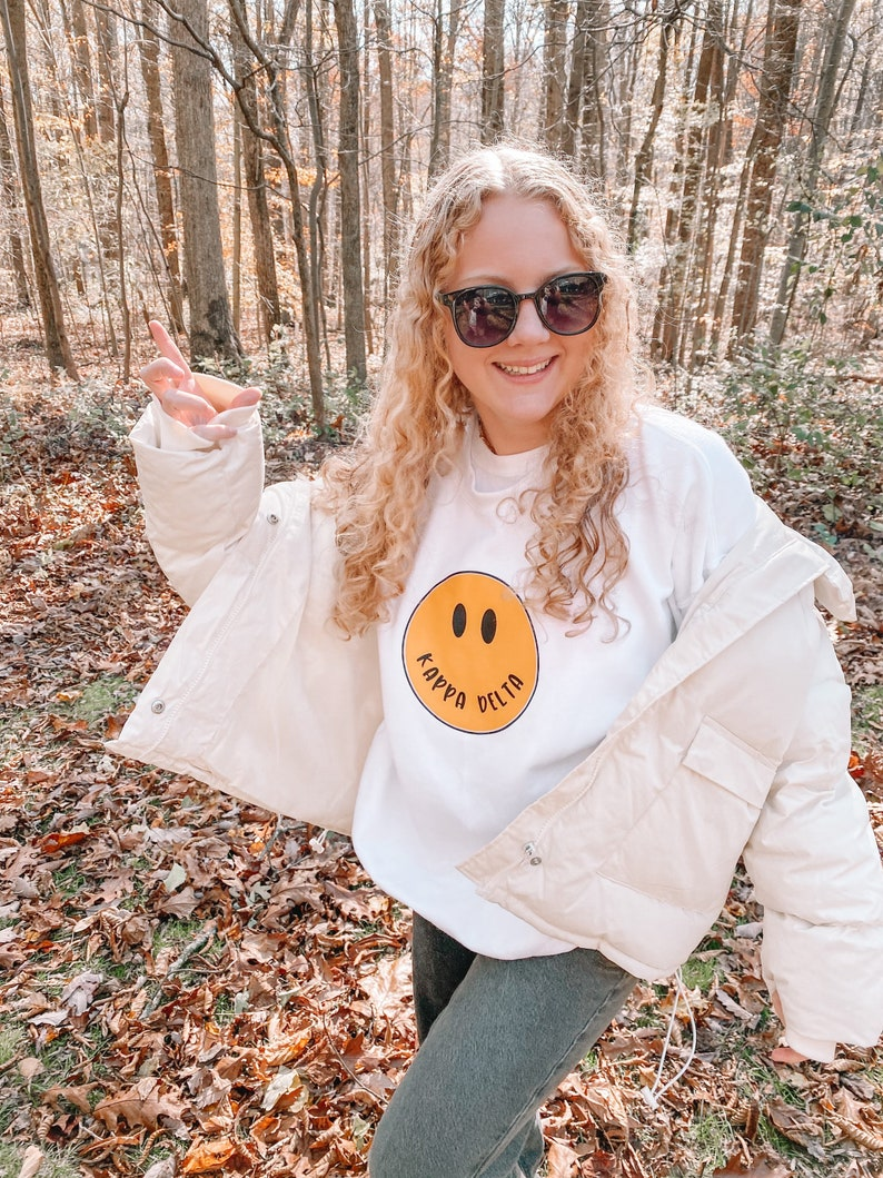 Smiley Face College Custom Sweatshirt Custom Comfort Colors Sorority College Custom Sweatshirt Bid Day Trendy