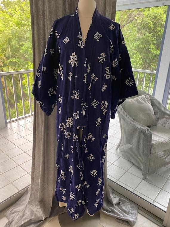 Blue kimono cotton robe