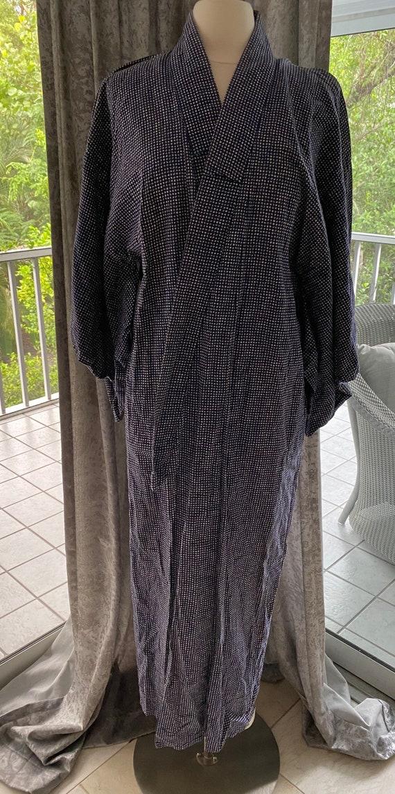Vintage Blue Cotton Kimono