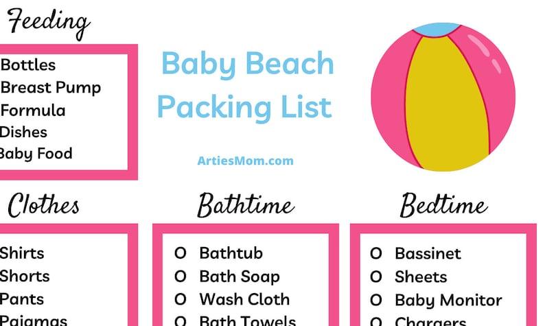 Printable Baby Beach Trip Packing List image 0