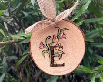 """Letter E wall hanging, Hand crafted gift for a friend, Personalized wooden wall art, 3 1/2"""" x 3 1/2"""""""