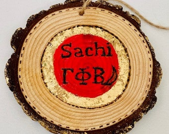 Round wall hanging, Personalized with name and sorority for dorm room, Natural Wood with Tree Bark with jute rope, Customization possible