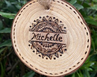 """Round wall hanging, 3.5"""" x 3.5"""", Personalized for a friend, Natural Wood with Tree Bark decorated with a Jute bow, Customization possible."""