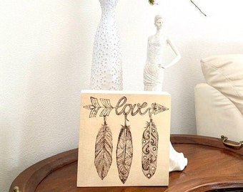 """Boho Wall Art, 8""""x8"""", Wood Burning, Engraved, Personalize, Feather, Elegant, Chic, Poster, angels, customized, love, hope, home decor,"""