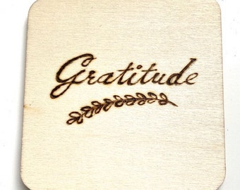 """Set of 4 Coasters, Gratitude, Believe, Bless, Love, 4"""" x 4"""" Square wooden handmade coasters with cork backing"""