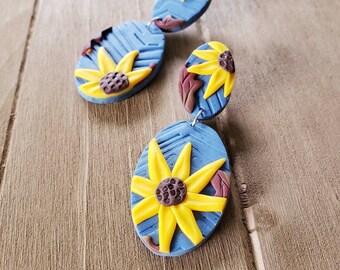 Yellow Sunflower oval dangle earrings