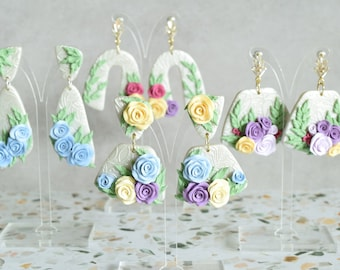 English Rose Earring Collection - Polymer Clay Earrings, Rose Jewelry, Gifts for Her