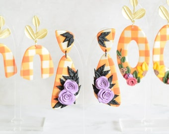 Fall Gingham Earring Collection - Polymer Clay Earrings, Gifts for Her