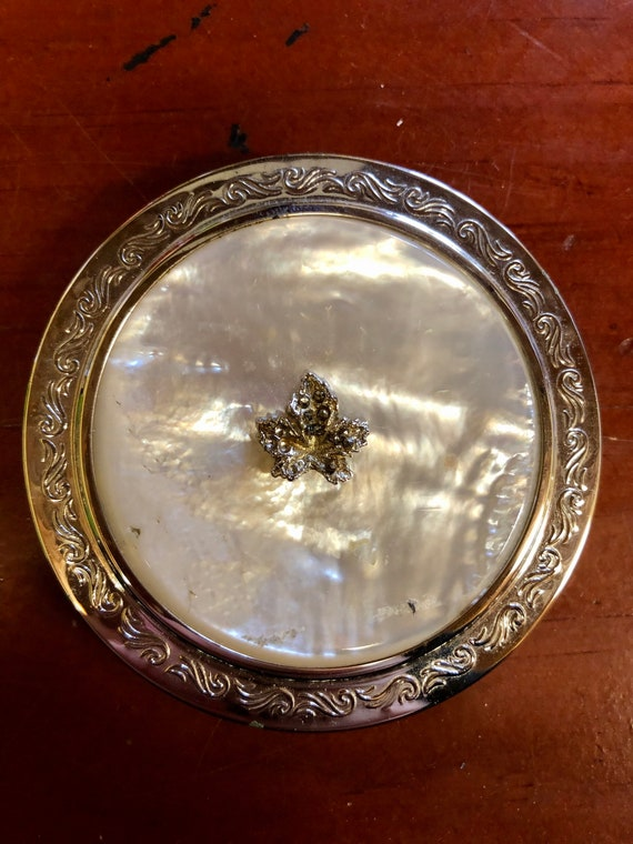 Vintage Mother of Pearl Powder Compact! With Marca