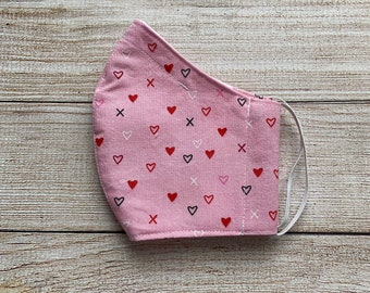 Pink Valentine's Day mask hearts fitted mask, filter pocket, nose wire pocket, adjustable strap, washable, reusable, wraparound head elastic
