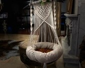 Macrame Cat Hammock Woven Boho Wall Hanging Pet Hammocks Dog Bed, Macrame Cat Swing Hanger Large Pet Furnitures Supplies Toys Cat Cave Gifts