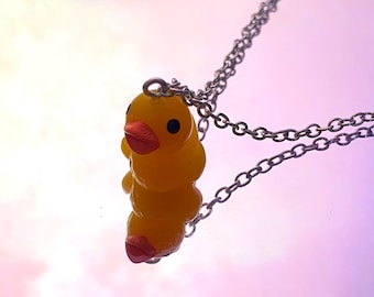 Resin Yellow Ducky I Love You More Bead Necklace Set of 2