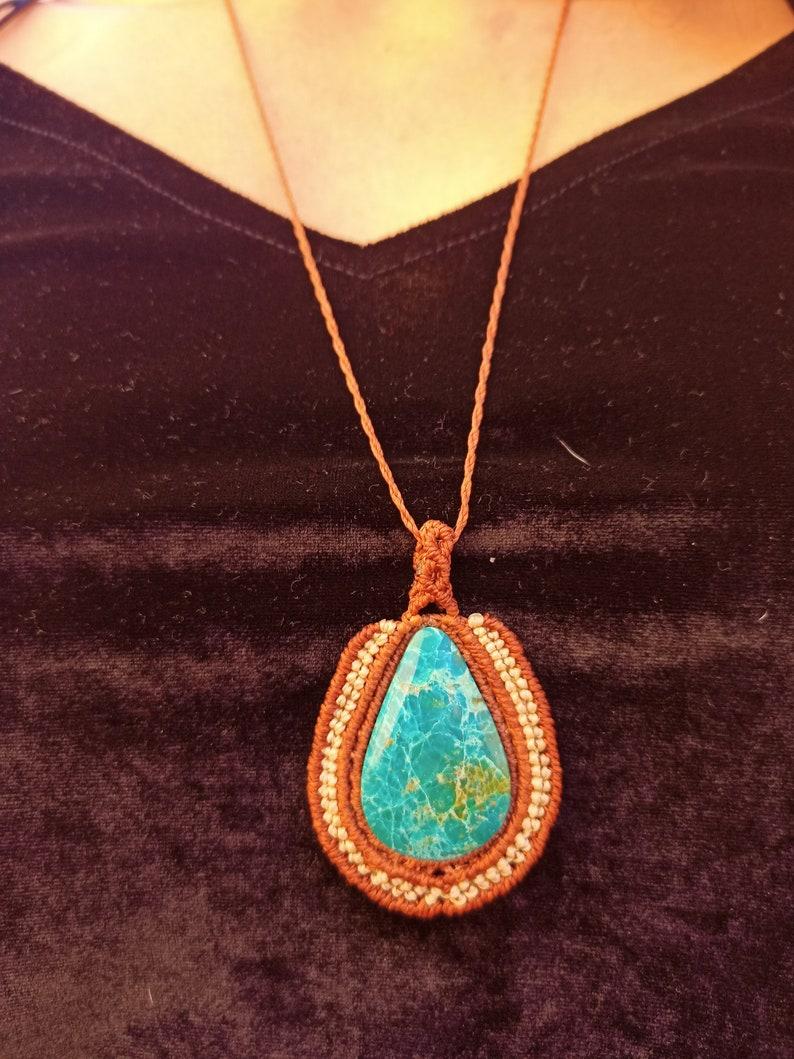 MacrameConMiel Crisocola macram\u00e9 necklace Hippie Hippie  Macrame necklace chrysocolla