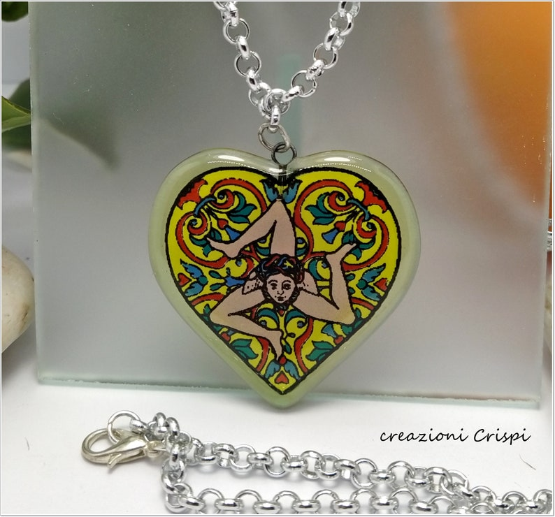 Cuore Trinacria ceramic ceramic pendant in melting glass Trinacria Cuore necklace Trinacria Sicilia pendant