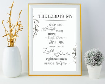 The Lord Is My Shepard Bible Verse Typography Art Print, Printable Quote Art, Instant Download, The Lord is My Rock