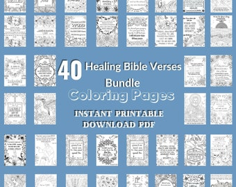 Healing Bible Verse Coloring Pages 40 Page  HUGE Bundle Printable Adult Coloring Book Bible Instant Download PDF