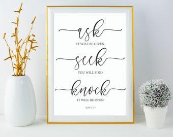 Bible Verse Typography Print, Printable Quote Art, Instant Download, Book of Matthew 7:7, Ask Seek Knock Printable