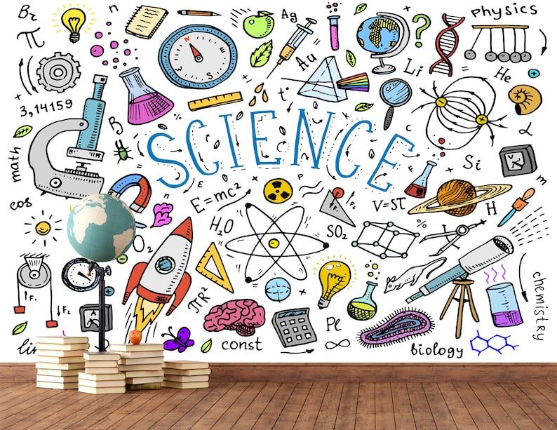 Science Figures Wallpaper Mural / School Science Room image 0