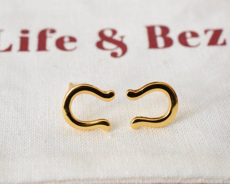 Sterling Silver Horseshoe Stud Earrings 18K Gold Plated Earrings