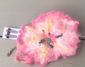 Pink Wool Felted Brooch Pin
