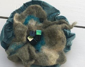 Handmade Felted Wool and Silk Beaded Brooch