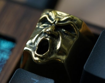 The Wrath - Premium Solid Brass Keycap / Mechanical Keyboard / Artisan Keycap Golden Key Gothic Metal Face from Keyrelic / Angry Yelling