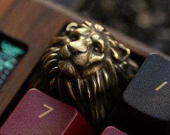 Lion Keycap - Solid Brass Metal Premium Keycap from KeyRelic Artisan Mechanical Keyboard Golden Lion Lannister Gold Keycaps King Gift