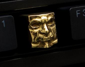The Judge - Premium Solid High Brass Luster Finish Keycap / Mechanical Keyboard Artisan Gold Key Gothic Metal Face KeyRelic Inquisitor