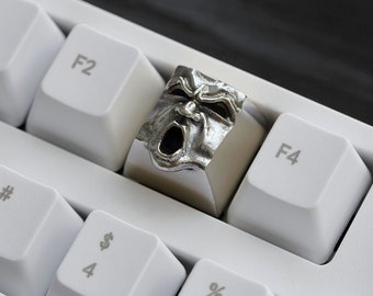The Wrath - Premium Solid Argentan Metal Keycap / Mechanical Keyboard / Artisan Keycap Key Gothic Metal Face from Keyrelic / Premium Gift PC