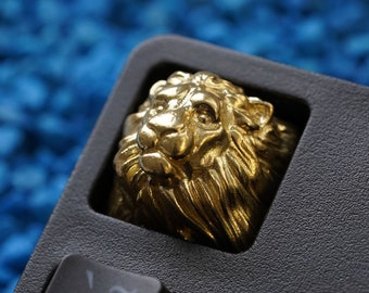 Brass High Polished Lion Keycap STORMWIND EDITION Metal Premium Artisan Mechanical Keyboard Gold Inspired by Alliance World of Warcraft