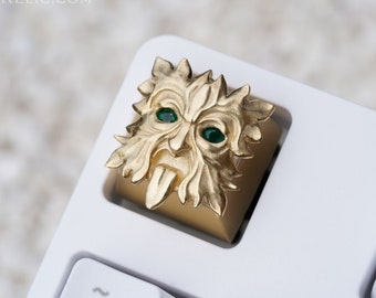 Gold Greenman - 14K Solid Gold with Genuine Emerald Gemstone Eyes / Keycap Worthy of Royalty 585 Golden / Artefact for Mechanical Keyboard