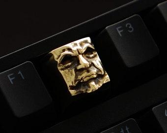 The Judge - Premium Solid Brass Keycap / Mechanical Keyboard / Artisan Keycap Gold Key Gothic Metal Face Keyrelic / Cherry MX Inquisitor