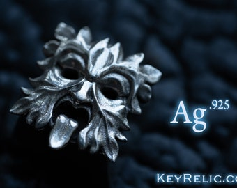 Greenman - Premium Solid Sterling SILVER 925  Keycap for Cherry MX/ Mechanical Keyboard / Artisan / Gothic / KeyRelic / Architecture / Gift