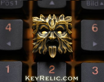 Greenman - Premium Solid Brass  Keycap for Cherry MX/ Mechanical Keyboard / Artisan / Gothic / KeyRelic Architecture / Gift Day of the rake
